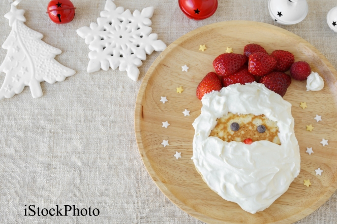 Fun homemade santa pancake breakfast for kids,copy space backgro
