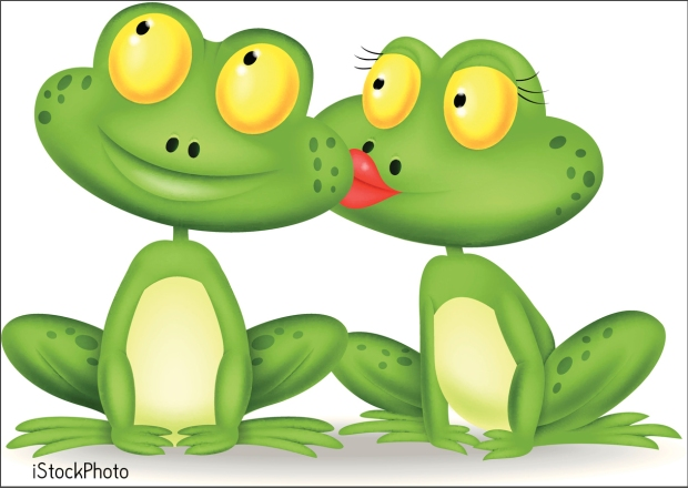 Frog cartoon kissing
