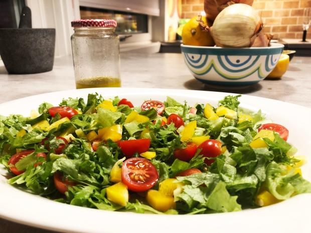 Fylte auberginer - Salat og dressing